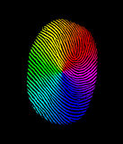 Fingerprint biometric rainbow. An image for the concept of Fingerprint biometric rainbow. Showing an graphic of a human fingerprint or finger print in black on a Royalty Free Stock Images