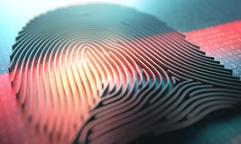 Fingerprint Biometric Reader. 3d illustration of a laser scanner on a fingerprint embossed Royalty Free Stock Image