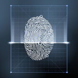 Fingerprint biometric scan for personal verification. Security vector background illustration. Verification person with fingerprint, identification finger Royalty Free Stock Images
