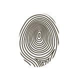 Fingerprint. Black drawing  fingerprint on white background Stock Images