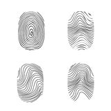 Fingerprint in black silhouette on white. Vector Stock Photography