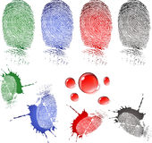 Fingerprint and blood drops. Very detailed fingerprint and blood drops, isolated on white background jpg, or . Size and color can be changed Royalty Free Stock Photography