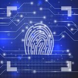 Fingerprint on Blue Background. Fingerprint on Blue Technological Blurred Background. Finger Print Integrated in a Printed Circuit Royalty Free Stock Images