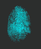 Fingerprint. Blue fingerprint on a dark background Stock Photo