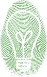 Fingerprint. With bulb silhouette. This image created in entirety by me and is entirely owned by me and is entirely legal for me to sell and distribute Royalty Free Stock Image