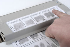 Fingerprint card. Performance of fingerprint impressions on the fingerprint card printing Royalty Free Stock Photography