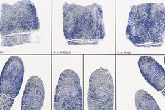 Fingerprint card Stock Photos
