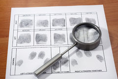 Fingerprint card. Magifying glass inspecting a fingerprint royalty free stock photography