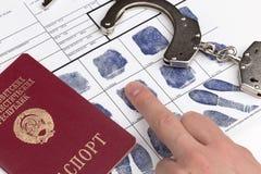 Fingerprint card with travel passport of Soviet Union Stock Images