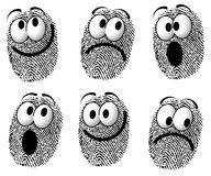 Fingerprint Cartoon Faces. An illustration featuring a silly group of fingerprints with cartoon-like faces smiling, sad, and surprised Royalty Free Stock Photos