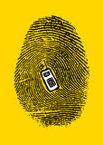 A fingerprint on a cell phone. With embossed center Royalty Free Stock Image