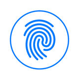 Fingerprint circular line icon. Round colorful sign. Flat style vector symbol. Royalty Free Stock Photo