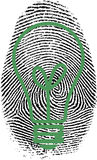 Fingerprint. With classic bulb silhouette Royalty Free Stock Photos