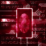 Fingerprint and code. Finger print and digital code futuristic illustration Royalty Free Stock Photography