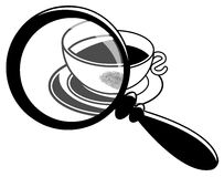 Fingerprint on coffee cup. Image representing a magnifying glass that enlarges a part of a coffee cup on which there is a fingerprint Stock Image