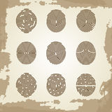 Fingerprint collection on grunge vintage backdrop Royalty Free Stock Photography