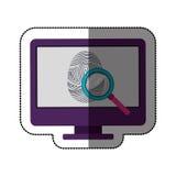Fingerprint and computer design. Fingerprint and computer icon. Identity security print and privacy theme. Isolated design. Vector illustration Stock Photography