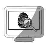 Fingerprint and computer design. Fingerprint and computer icon. Identity security print and privacy theme. Isolated design. Vector illustration Stock Image