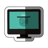 Fingerprint and computer design. Fingerprint and computer icon. Identity security print and privacy theme. Isolated design. Vector illustration Royalty Free Stock Image