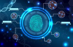 Fingerprint with concept abstract technology background Royalty Free Stock Photo
