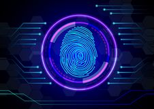 Fingerprint with concept abstract technology background. Illustration of Fingerprint with concept abstract technology background Stock Image
