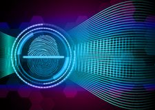 Fingerprint with concept abstract technology background Stock Photo