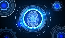 Fingerprint with concept blue abstract technology background. Illustration of Fingerprint with concept blue abstract technology background Royalty Free Stock Photography
