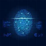 Fingerprint. Concept of digital security, electronic fingerprint on scanning screen Royalty Free Stock Photo