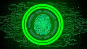 Fingerprint with concept green abstract technology background Royalty Free Stock Photos