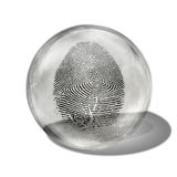 Fingerprint. Contained in glass sphere Royalty Free Stock Photo