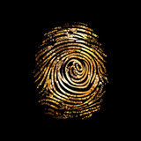 Fingerprint dactylogram gold Stock Images