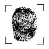 Fingerprint dark scan icon. Fingerprint grey isolated on white background. Vector illustration. Fingerprint dark scan icon. Fingerprint grey isolated on white Stock Photography