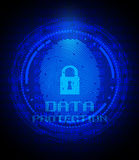 Fingerprint and data protection on digital screen. Security concept: fingerprint and data protection on digital screen Royalty Free Stock Image
