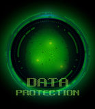 Fingerprint and data protection on digital screen. Security concept: fingerprint and data protection on digital screen Royalty Free Stock Images