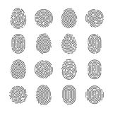 Fingerprint detailed icons. Police scanner thumb vector symbols. Identity person security id pictograms. Finger identity, technology biometric illustration Royalty Free Stock Photos