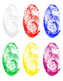 Fingerprint of different colors vector illustration. Isolated on gray background Stock Images