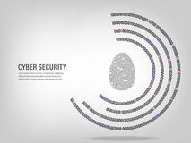 Fingerprint on digital binary code circle background. Cyber Security Concept : Fingerprint on digital binary code circle background Royalty Free Stock Photography