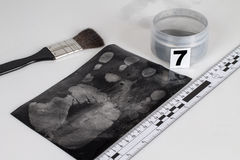 Fingerprint. Disclosure of forensic evidence using fingerprint powders Royalty Free Stock Images