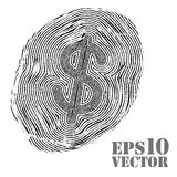 Fingerprint with dollar sign. Royalty Free Stock Photo