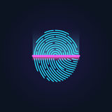Fingerprint electronic scanning identification system vector illustration Stock Images