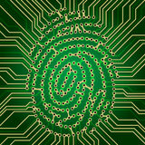 Fingerprint electronics. Fingerprint Identification System Green Electronics Scheme Stock Photography