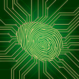 Fingerprint electronics. Fingerprint Identification System Green Electronics Scheme Stock Photo