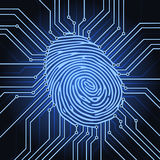 Fingerprint electronics. Fingerprint identification system electronics scheme Royalty Free Stock Photos
