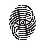 Fingerprint with eye. Inside. Conceptual security logo or identification icon of dashed line finger print Stock Photo