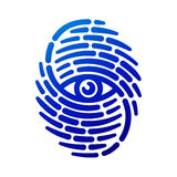 Fingerprint with eye. Inside. Conceptual security logo or identification icon of dashed line finger print Royalty Free Stock Image