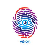 Fingerprint with eye. Inside. Conceptual security logo or identification icon of dashed line finger print Stock Photography
