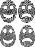 Fingerprint. Face with fingerprint - angry and smiling Stock Image