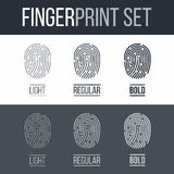 Fingerprint. S icons Set for Identity Person Security ID on Dark and White Background Stock Image