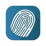 Fingerprint flat design long shadow icon. Vector silhouette symbol. Stock Images