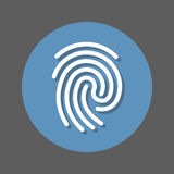 Fingerprint flat icon. Round colorful button, circular vector sign with shadow effect. Flat style design. Royalty Free Stock Photo